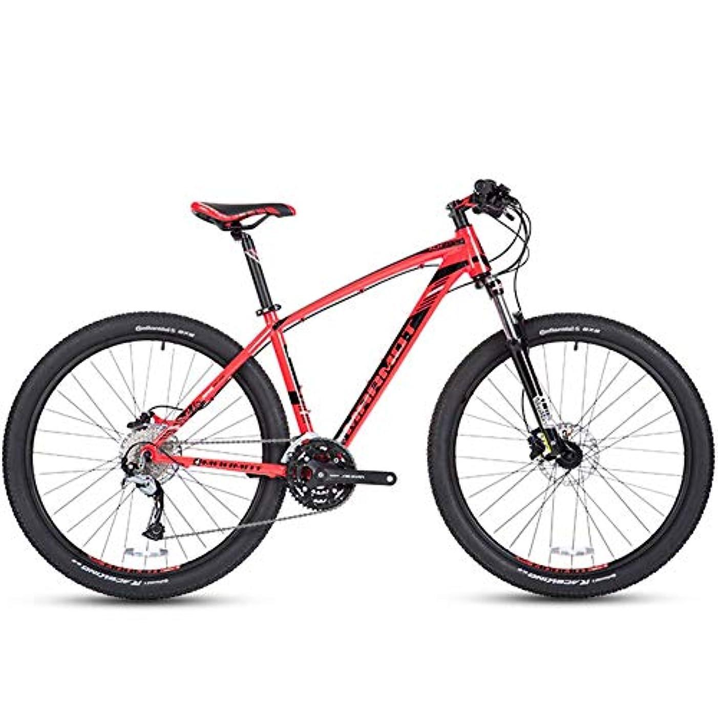 バスケットボール自宅でアプト27スピードマウンテンバイク、男性用アルミ27.5インチハードテールマウンテンバイク、デュアルディスクブレーキ付きオールテレーン自転車、調整可能なシート、レッド