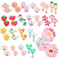 G.C 21 Pairs Colorful Clip on Earrings for Girl No Pierced Cute Earrings Princess Jewelry Party Favors Play Dress up Accessories for Kids Toddler Little Girls