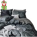 (King, Blue) - Enjoylife Elegant Reversible Bedding Set Printed Plaid 100% Cotton and Flannel 3 Pieces Duvet Cover Geometric Pattern Grid Gingham Quilt Cover King Size for Kids/Teens/Adults, Blue