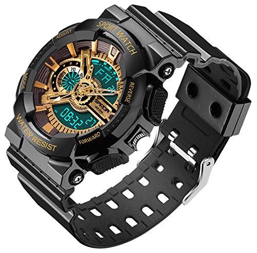 SANDA デジタル 腕時計 PU 樹脂 バンド プラスチック 防水 耐震 多機能 LED デュアルディスプレイ 運動 クォーツ ウォッチ (ブラック&ゴールド)