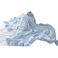 vivisclassic 毛布 コットンブランケット 上質綿毛布 高級感 きれい 北欧風 ブランケット おしゃれ ポンポン付き ふんわり 冷え性対策 やさしい肌触り 柔らかい 暖かい 洗える 寝具 ベッド用 ソファー用 150*200CM 100*120CM  (ライトブルー, 150*200CM)