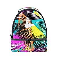 WOTAKA ランチバッグ,都市の幾何学的な抽象的なシームレスなカオスパターン,2層式保冷保温お弁当バッグ 男女兼用ポータブル大容量クーラー