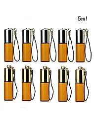 SAGULU アロマオイル 精油 小分け用 遮光瓶 遮光ビン ミニガラスアロマボトル エッセンシャルオイル用容器 スチールボールタイプ 詰替え 保存容器 茶色 5ml 10本セット