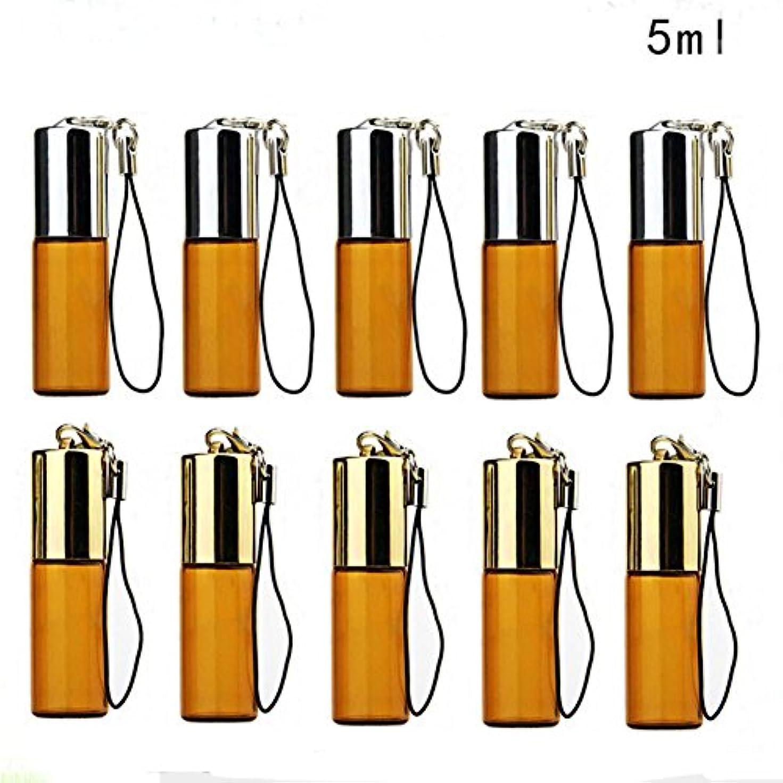 茎テナントセンサーSAGULU アロマオイル 精油 小分け用 遮光瓶 遮光ビン ミニガラスアロマボトル エッセンシャルオイル用容器 スチールボールタイプ 詰替え 保存容器 茶色 5ml 10本セット