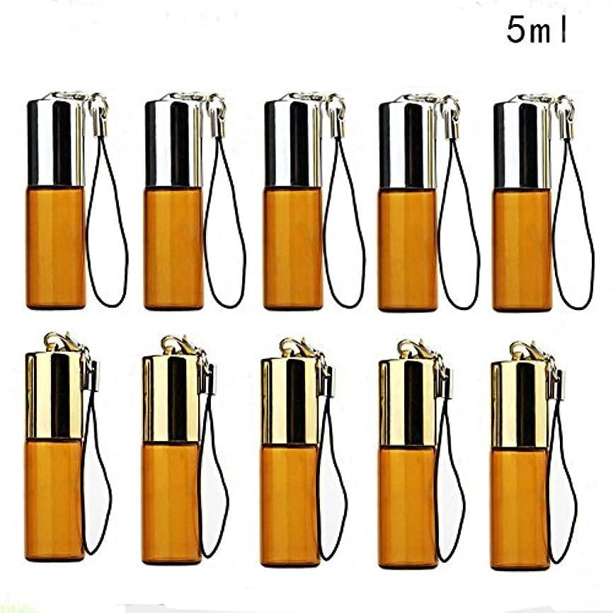 磁気にやにや要件SAGULU アロマオイル 精油 小分け用 遮光瓶 遮光ビン ミニガラスアロマボトル エッセンシャルオイル用容器 スチールボールタイプ 詰替え 保存容器 茶色 5ml 10本セット
