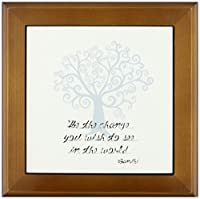 3dRose ft_164656_1 be The Change You Wish to See Blue Tree Gandhi 額入りタイルアートワーク 8x8インチ