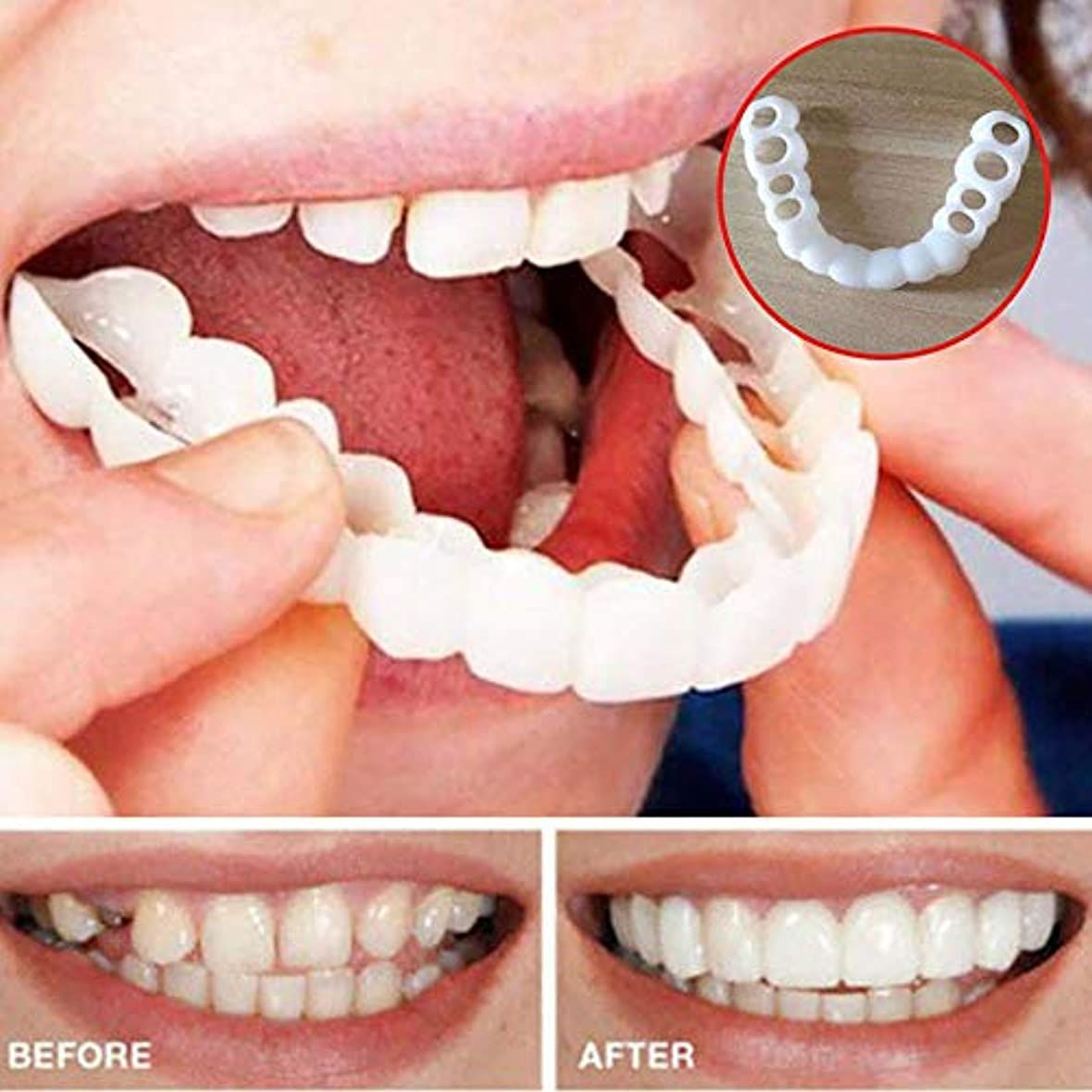 曲げる反映するハブブ4ペア美しい快適さフィットフレックス化粧品の歯義歯歯のトップとボトム化粧品突き板
