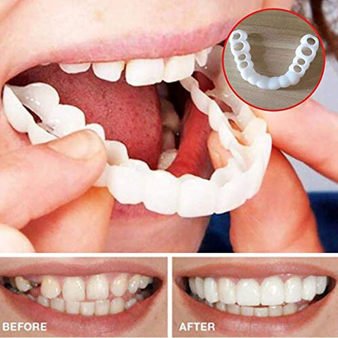 偏見組レンジ入れ歯、シリコーンシミュレーション、上歯の4セット、ホワイトニング入れ歯、再利用可能な、入れ歯