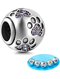 Sambaah Sterling Silver Dog Paw Print Charm Beads with Cubic Zirconia Crystals fit Pandora Style Beaded Bracelets for Pet Lovers