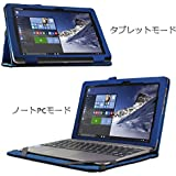 Infland ASUS TransBook T100HA ケース ASUS TransBook T100HA Windows10 10.1インチ タブレット 専用保護ケース 薄型 超軽型 スタンドカバー 高級PU レザーケース内包型(ネイビーブルー)