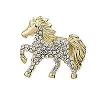 LALANG ラグジュアリークリスタル馬型ブローチピン 女性 女の子 服 アクセサリー