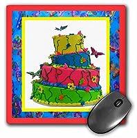 3drose LLC 8x 8x 0.25インチSocial Butterflyケーキマウスパッド(MP 14944_ 1)