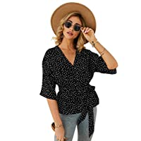 SheIn Women's Casual Polka-Dot 3/4 Sleeve V-Neck Blouse Tie Waist Pullover Top