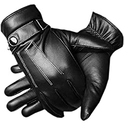(ロジャーベルダー) LOGER BELDER スマホ 対応 人気 レザー グローブ インナー フリース メンズ 大人 男性 用 かっこいい 革 手ぶくろ 冬 防寒 手袋 裏起毛 暖かい 黒 ブラック (フリーサイズ)