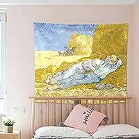 SHYPwM ゴッホシリーズタペストリー北欧スタイルの背景布スターハング布寝室装飾的なタペストリーひまわりの壁カバー150×130センチ (Color : D)
