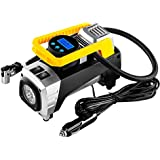 12V DC Portable Air Compressor Pump, 150 PSI Car Digital Display Air Pump Tire Inflator with Preset Pressure Auto Shut Off Gauge and Emergency Light for Car Tyre, Motorcycle, Bicycle