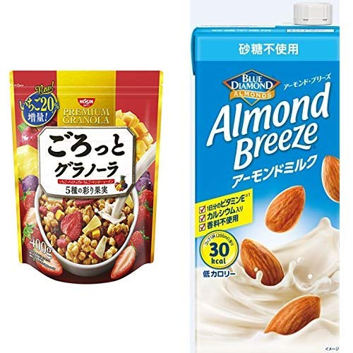 【セット買い】ごろっとグラノーラ5種の彩り果実400g 400gX6袋 + アーモンド・ブリーズ 砂糖不使用 1L×6本