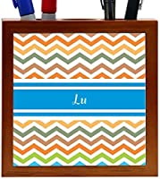 Rikki Knight Lu Blue Chevron Name Design 5-Inch Wooden Tile Pen Holder (RK-PH5094) [並行輸入品]