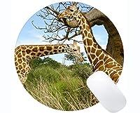 丸型マウスパッド滑り止め天然ゴム長方形丸型マウスパッド、日光動物キリンゴム製マウスパッドステッチエッジ