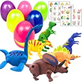 Dinosaur Toys Eggs Easter Basket Stuffers for Boys Girls Toddlers Kids - Larger Plastic Filled Easter Eggs Decorations Party Supplies pack of 6