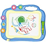 お絵描きボード 大画面(35.5*28.5cm) かいて育脳 知育玩具シリーズ 持ち手付 カラフル (ブルー)