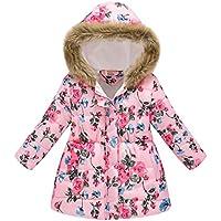 Macondoo Girls' & Boys Faux Fur Hoodie Winter Cotton-Padded Print Down Jacket