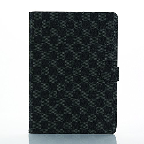 Apple iPad4 ケース 「PIAPI専門店」 アップル アイパッド iPad3 カバー iPad2 タブレットケース チェック柄 手帳型 高級PUレザー ビジネス 大人風 シンプル 横開き 柔らかな材質 カードポケット付き スタンド機能 耐衝撃 防塵 耐久性 装着やすい iPad2/3/4兼用 ブラック