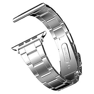 JEDirect Apple Watch 用バンド 42mm と 44mm Series 1 2 3 4対応 ステンレス留め金製 シルバー