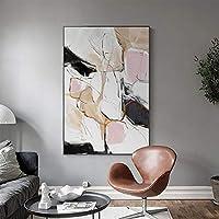 Nuanxin ピンクインク抽象絵画、モダンなミニマリストの北欧スタイル、インテリア/ポーチ装飾画、黒PSフォトフレーム、褪色防止、6サイズ、 S10 (Size : 50X70cm)