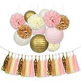 Kixnor-(アイボリー、ピンク、タン、ゴールド)ベビーシャワー、結婚式やパーティーの装飾を提供します。紙タオルポンポムスフラワーペーパータッセルガーランドバナーランタン