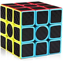 D-FantiX 3x3 Speed Cube Carbon Fiber Sticker Cool Magic Cube Puzzle Brain Teaser Toys