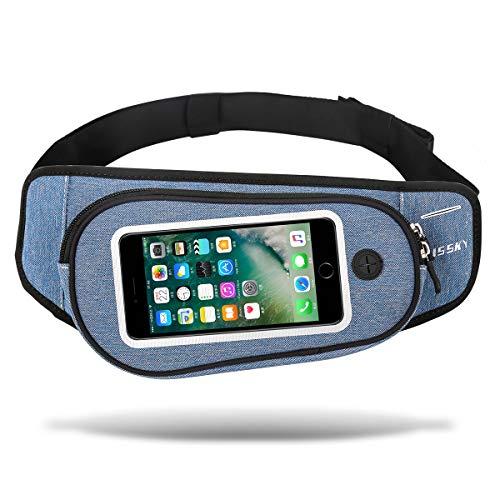 ウエストポーチ 大容量アウトドア&スポーツ用 3way ウエストバッグ タッチスクリーン操作可能 ショルダーバッグ ジョギング ランニング 旅行 登山 散歩 ウエストバッグ iPhone Galaxy Sony等の大画面スマートフォン収納可能防水バッグ (ブルー)