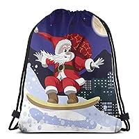 ナップサック 巾着袋 巾着バックパック メリークリスマス スポーツバック 多機能 通勤 運動 人気 旅行 収納袋 小物入れ 撥水加工 おしゃれ かわいい 軽量 男女兼用 ジムサック 大容量