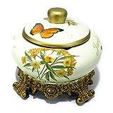 【Woliwowa】 ヨーロピアン アンティーク風 台座&蓋付き 灰皿 小物入れ 陶器製 (アイボリー)
