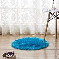 円形 ラグマット シャギーラグ 北欧 シンプル 洗えるラグ おしゃれ ホットカーペットモダンマット サークル 絨毯 抗菌 丸 夏用 軽い モダンデザイン かわいい 下敷き クラシック 床暖房 ライトブルー 50 ペット 柔らかい じゅうたん