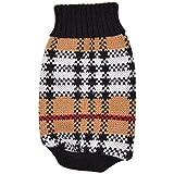 バーバリー ニット 犬服 チェック柄 タートルネック セーター ハイネック 小型犬 ペット (L)