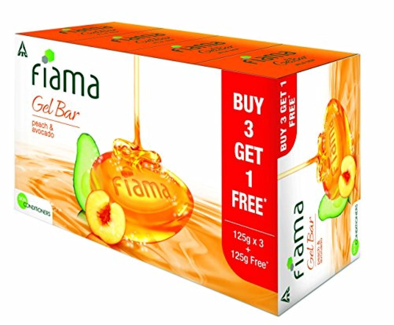 禁輸それ延期するFiama Gel Bathing Bar, Peach and Avocado, (3 * 125g)