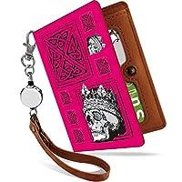 パスケース リール付き スカル キング ピンク ドクロ 二つ折り 定期入れ 2枚 3枚 4枚 カードケース カード入れ スカル柄 ガイコツ [スカル キング ピンク/ps]