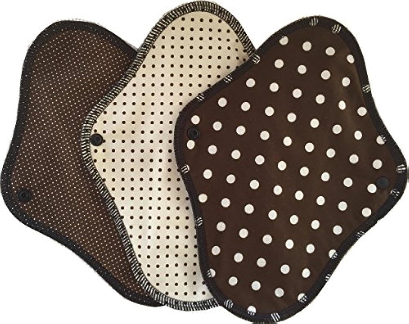 罰買い物に行くうんすぃーと?こっとん 布ナプキン ブラックネル 一体型布ナプキン昼用3枚セット(チョコ)