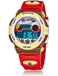 OHSEN 腕時計 子供 LED デジタル スポーツ アラーム 日付曜日 多機能ウォッチ-レッド