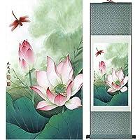 蓮の花の絵のスイレンの絵画中国のウォッシュペインティングの家の装飾,Greenpackage,100x30cm