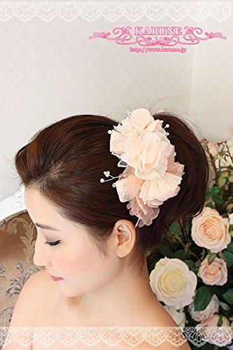 ふわふわフラワーのライトピンクヘアアクセサリー♪ヘッドドレス ウェディング  髪飾り お花 ヘアコサージュ パール付 お花髪飾り 和洋 造花 浴衣 着物 パーティー HA-LM002