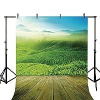 グリーン スタイリッシュ 背景 落書きスタイル エイリアン フロッグの絵画 ファンタジー テーマ 水彩画風 イラスト風 子供用 写真用 幅39.3インチ x 高さ59インチ