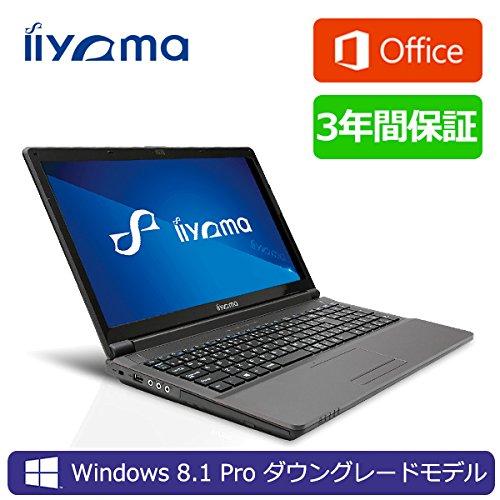 iiyama 3年保証+MS Word・Excel付 15X7100-i7-RSM-DG7P [Windows 7 Pro+Office Personal Premium搭載]15.6型 フルHD液晶&Core i7-4710MQノートパソコン Windows8.1 Proダウングレード