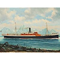 Mohrmann Steamboat Sakkarah Rocky Coast Painting Premium Wall Art Canvas Print 18X24 Inch 蒸気岩海岸ペインティング壁