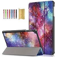 APOLL ケース Galaxy Tab A 10.1 2019 SM-T510 / T515用 超軽量 スリム コーナー保護ケース 耐衝撃性 ハードシェル 三つ折り スタンドカバー Samsung Galaxy Tab A 10.1 インチ 2019用
