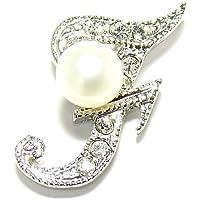 淡水真珠白5.5mmボタン型イニシャルピンブローチF