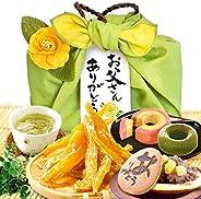おいもや どら焼き ギフトセット お菓子 の プレゼント 編み籠バック 静岡緑茶付