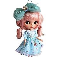 YR EARTH ブライス用 衣装 さくらんぼ柄 ドレス 大きなリボンのヘアアクセサリー セット ワンピース blythe アウトフィット S043 (ライトブルー)