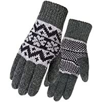 Womens Winter Warm Cozy Wool Knit Gloves Thick Lined Gloves Mittens